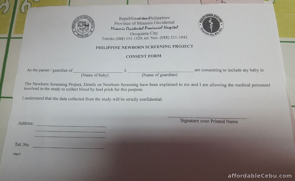 Philippine Newborn Screening Project Consent Form  Philippine Government 30440