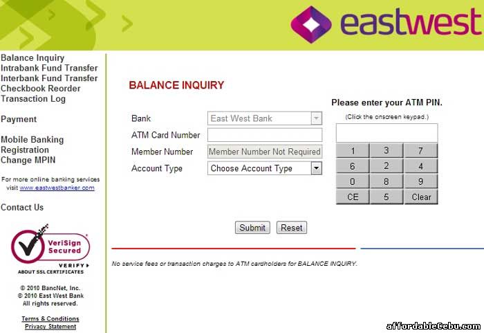 Eastwest Bank Atm Card Balance Inquiry Online Banking 15539