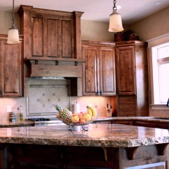 Rustic Hickory Kitchen Cabinets Movable Island Affordable Custom Showroom