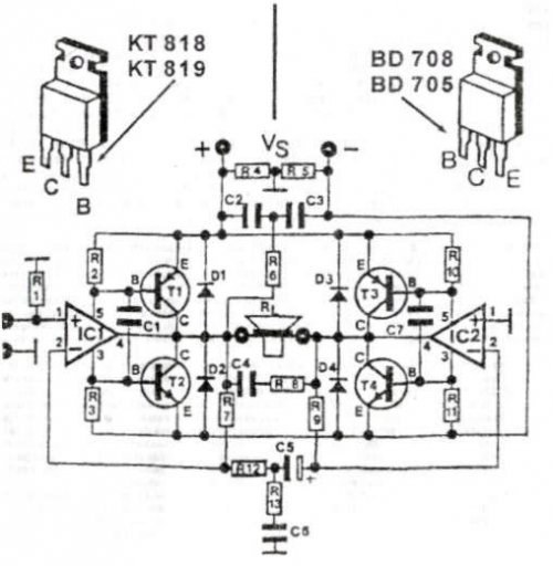 200W audio amplifier circuit diagram using TR and ic