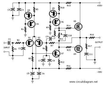 25W高保真音频MOSFET放大器电路_电路图_中国百科网