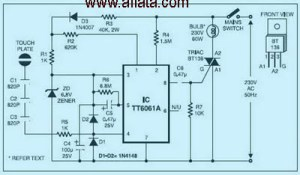 Dimmer Touch Switch   Electronic Circuit Diagram and Layout