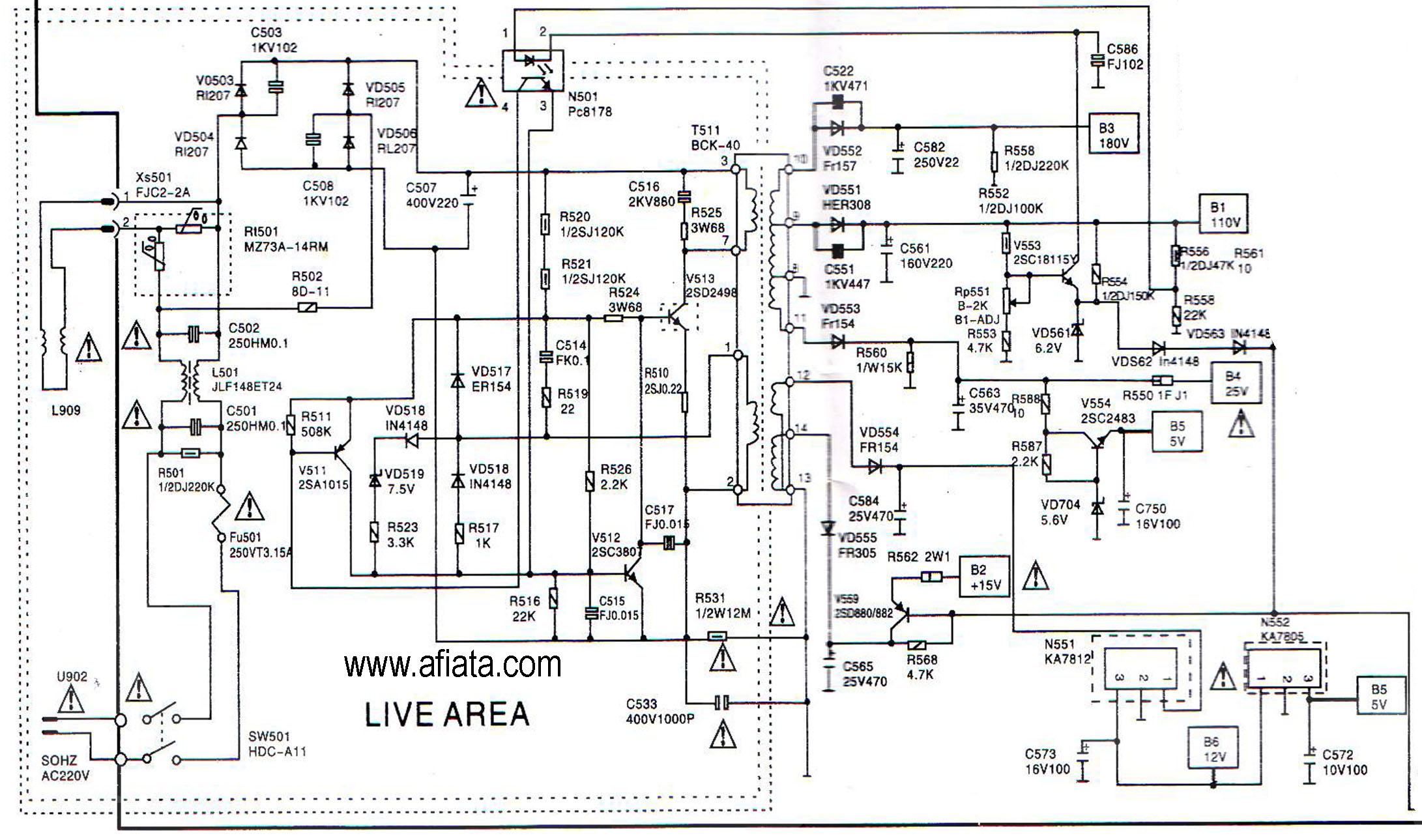 Electronic Circuit Diagram Tv Power Supply Ac Matic Using Pc 2sd