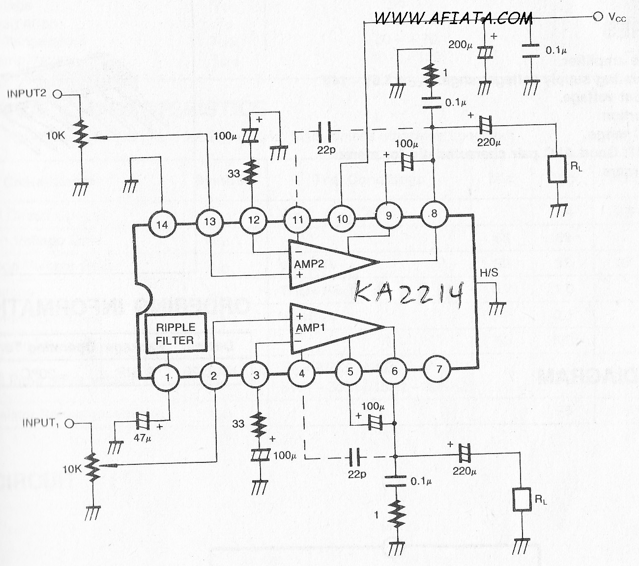 1 2w Dual Audio Power Amplifier Circuit