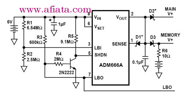 Low Battery Disconnect and Memory Backup Circuit in the
