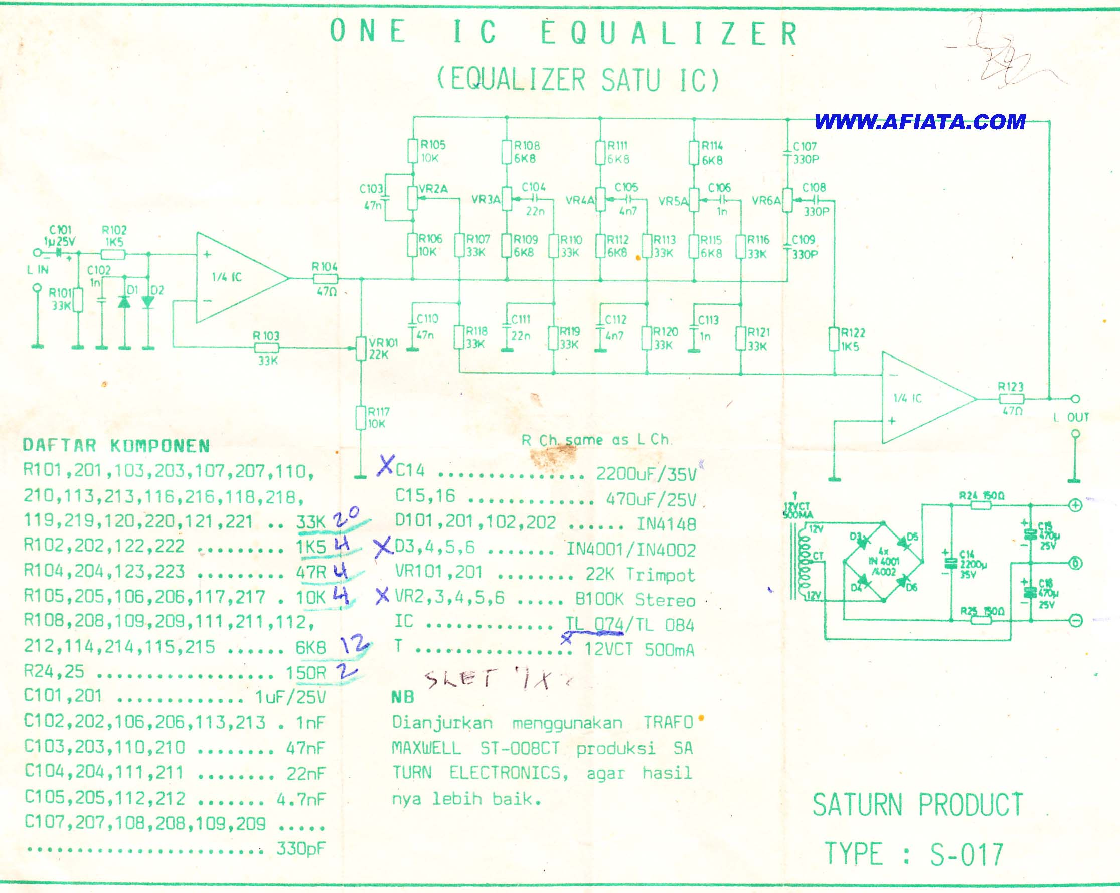 wireless power transmission circuit diagram 69 mustang dash wiring equalizer 5 chanel using ic tl074 tl084 | electronic and layout