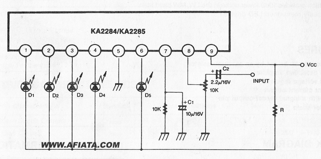 Various diagram: circuit using KA2284 5 DOT LED LINEAR