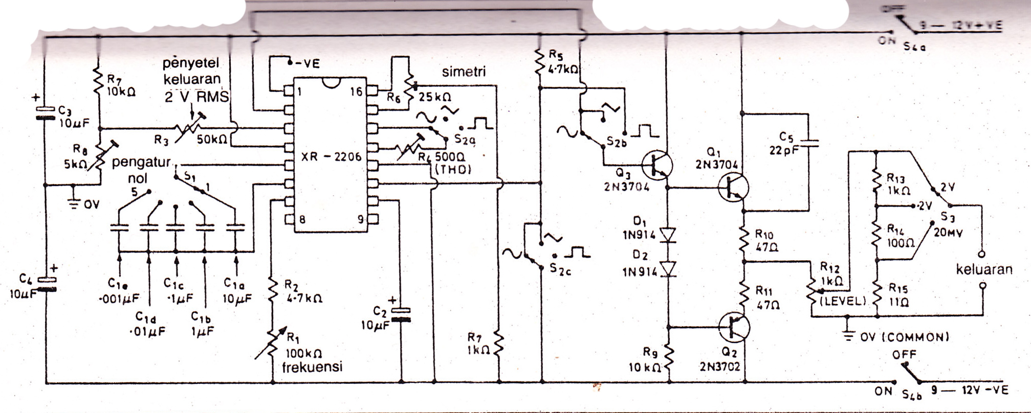 function generator with xr2206 schematic diagrams