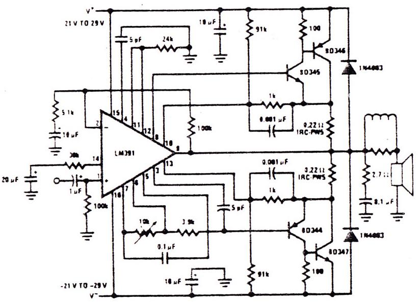 low power audio amplifier circuit schematic diagram