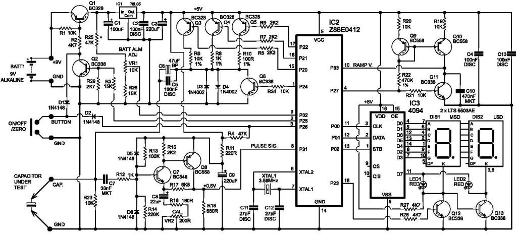 Equipment to measure capacitor ESR Ohms Meter circuit