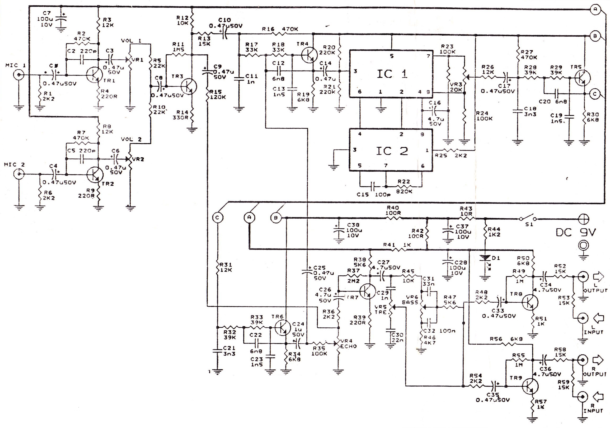 Echo Repeter And Preamp Mic Schematic