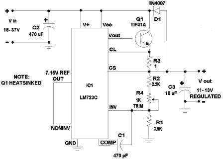 12V 500 mA Power Supply Regulator Circuit Diagram using