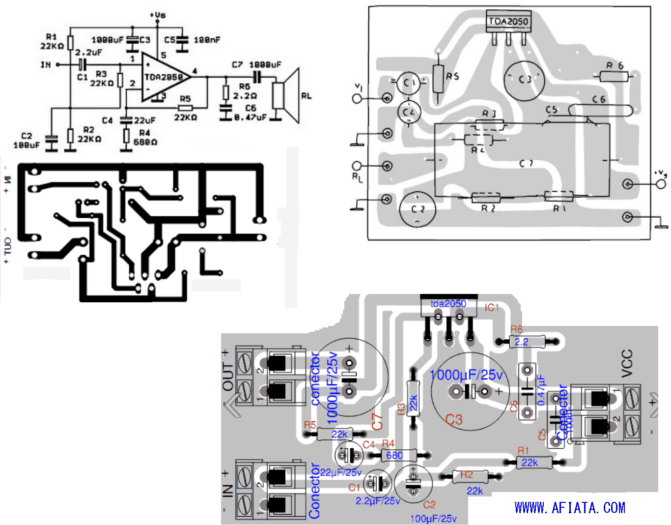 audio amplifier circuit diagram with layout honda 250 atv wiring tda2050 and electronic