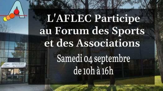 L'Aflec participe au Forum des Sports et des Associations le samedi 04 septembre de 10h à 16h.