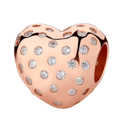Pandora Beaded Heart Charm | Material 925 Sterling Silver
