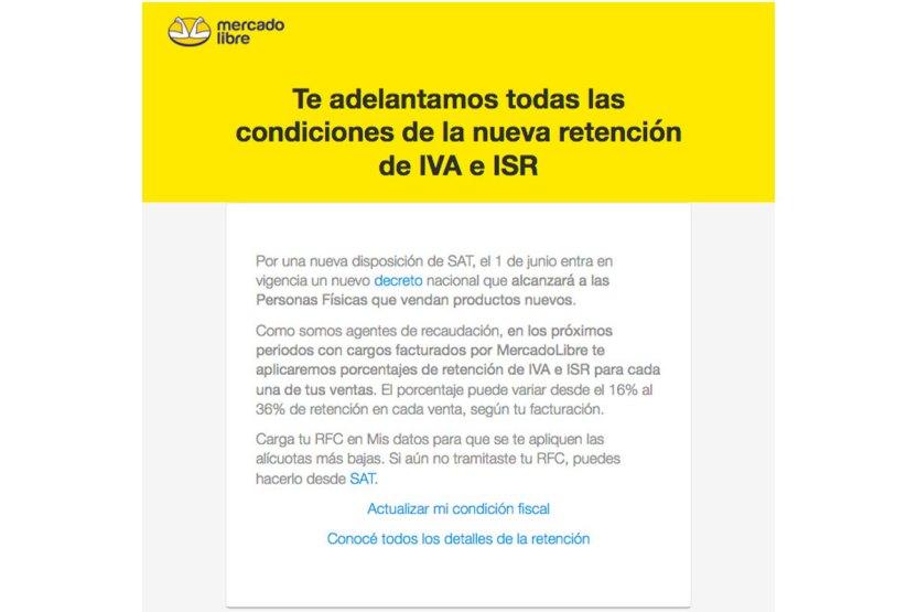 mercado libre retencion 01 - Mercado Libre anuncia que retendrá IVA e ISR en ventas a partir de junio
