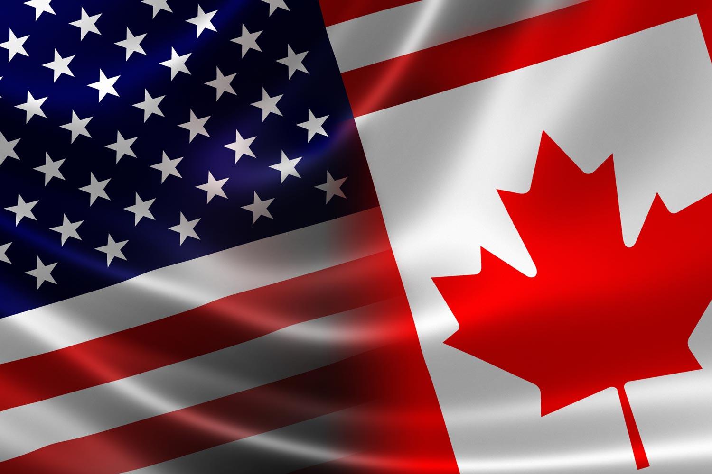 border_crossing Canada USA flags