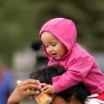 Infant on Parents shoulders