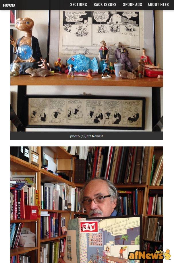 Screenshot dal sito Heeb con le interessanti foto di Jeff Newelt. Sì, si intravedono originali di Frazy Kat e di Popeye, avete visto bene...
