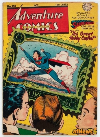 Adventure Comics 121 1947 Featuring Superboy Aquaman Green Arrow Johnny Quick Cover and art by George Roussos Contains the Superboy story The Great Hobby Contest about collecting stamps coins and autographs