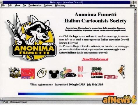 1995-07-30 stampa di videata dal sito Anonima Fumetti