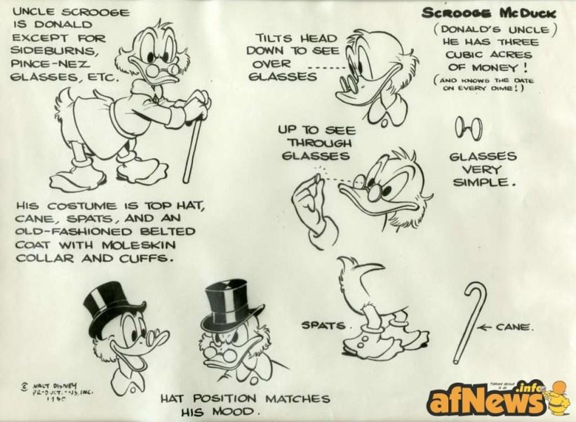 UncleScrooge model sheet Barks