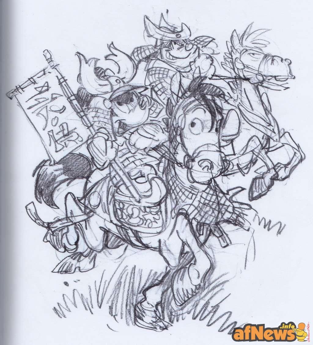 2015-07-28-afnews-scan-2015-659 Cavazzano matita per la cover francese de I Tre Samurai di Goria r