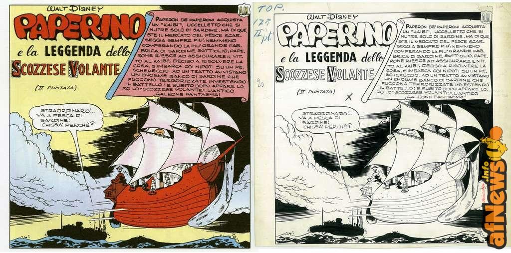Paperino e la leggenda dello Scozzese Volante - - pagina pubblicata e originale a confronto - afnews