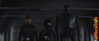 Rogue One: A Star Wars Story..L to R: Cassian Andor (Diego Luna), Jyn Erso (Felicity Jones), and K-2SO (Alan Tudyk)..Photo credit: Lucasfilm/ILM..©2016 Lucasfilm Ltd. All Rights Reserved.