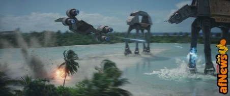 Rogue One: A Star Wars Story..U-Wing fires on AT-ACT..Photo credit: Lucasfilm/ILM..©2016 Lucasfilm Ltd. All Rights Reserved.