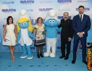 NEW YORK, NY - MARCH 18: (L-R) Demi Lovato, Under-Secretary-General for Communications and Public Information Cristina Gallach, Mandy Patinkin, and Joe Manganiello at the United Nations Headquarters celebrating International Day of Happiness in conjunction with SMURFS: THE LOST VILLAGE on March 18, 2017 in New York City. (Photo by Andrew Toth/Getty Images for Sony Pictures)