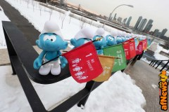 NEW YORK, NY - MARCH 18: Smurfs hold flags representing the UN's Sustainable Development Goals at the United Nations Headquarters celebrating International Day of Happiness in conjunction with SMURFS: THE LOST VILLAGE on March 18, 2017 in New York City. (Photo by Cindy Ord/Getty Images for Sony Pictures)