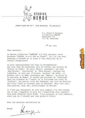 Tintin atilete au Tibet lettera Herge-afnews