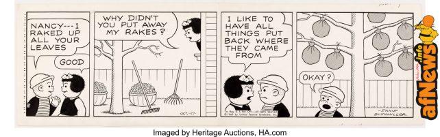 Ernie Bushmiller Nancy Daily Comic Strip Original Art dated 10-27-69