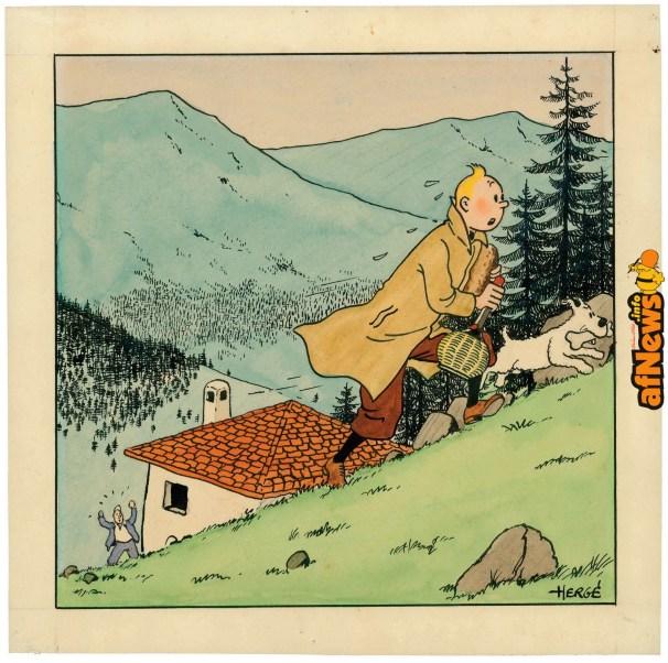 Tintin Hergé Ottokar - illustrazione fuori testo