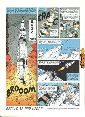 Prima pagina dell'omaggio all'Apollo 11 realizzato da Hergé