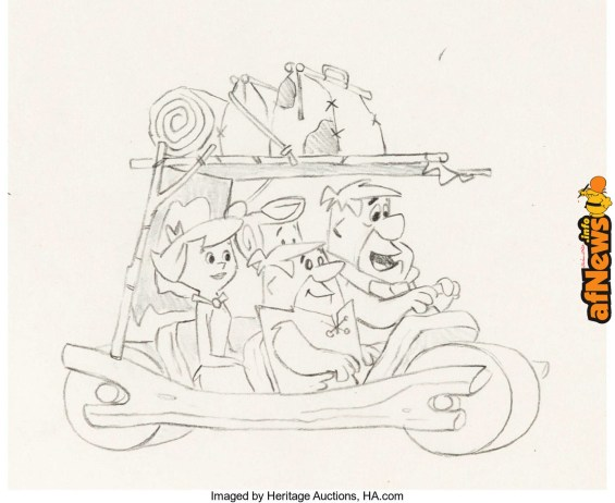 The Flintstones - Surfin' Fred Layout Drawings Group of 4 (Hanna-Barbera, 1965)-afnews