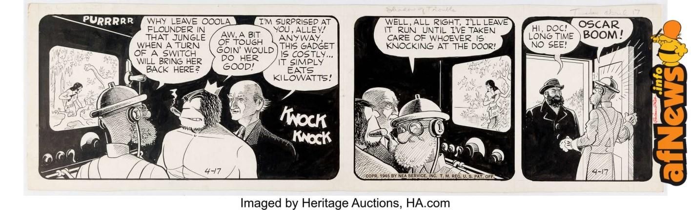 V. T. Hamlin Alley Oop Daily Comic Strip Original Art dated 4-17-45-afnews