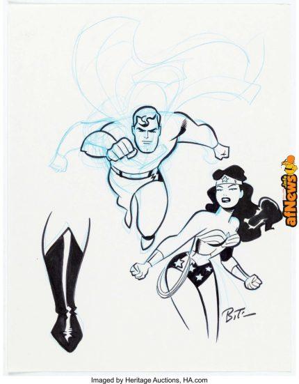 Bruce Timm - Superman and Wonder Woman Illustration Original Art-afnews