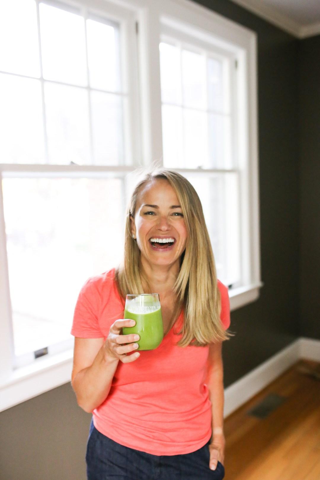 Teri holding green smoothie