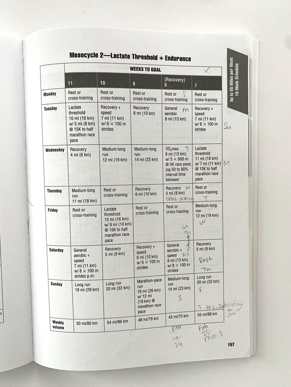 Advanced Marathon Training Plan Details