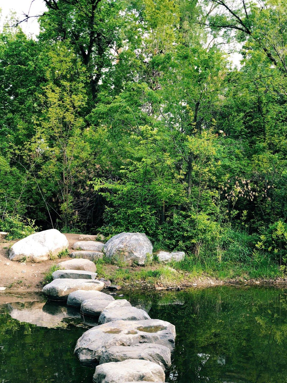 creek path boulder