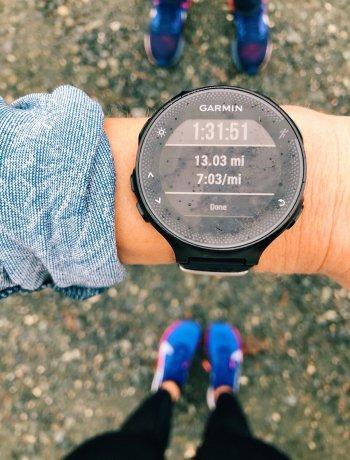 garmin watch at the end of a half marathon