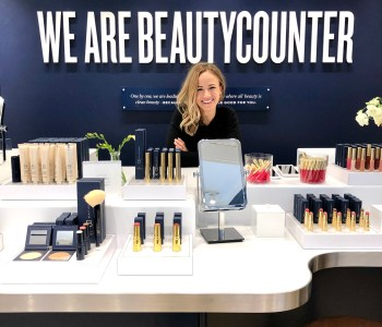 blonde woman in beautycounter soho new york city store