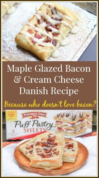 This Maple Glazed Bacon and Cream Cheese Danish Recipe is a sweet and salty twist on the traditional danish recipes. The salty, crunchy bacon balances the sweet maple glaze and cream cheese filling; and tops a golden, flaky Pepperidge Farm® Puff Pastry. It is AMAZING and you are going to LOVE it!