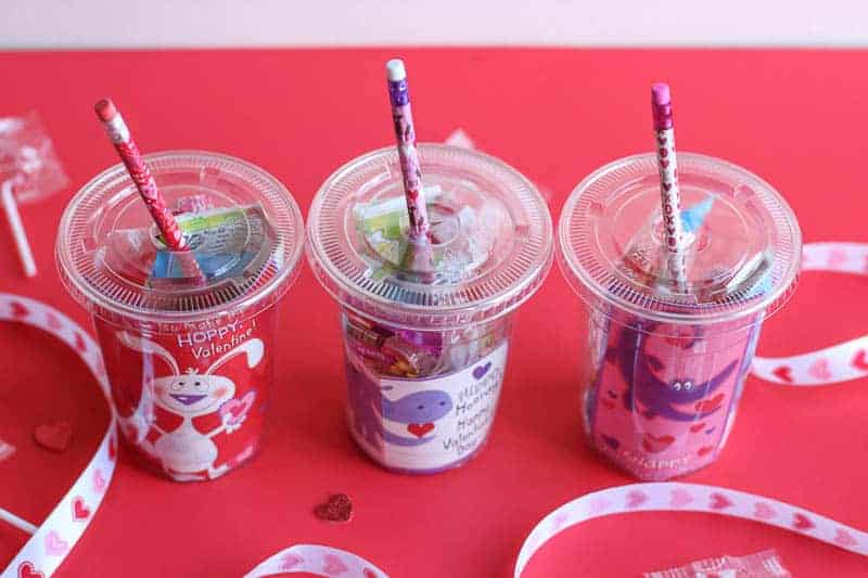 These cups are the cutest and sweetest DIY Valentine's Day Gift for Classmates. They can be easily be made in minutes and are very inexpensive to make! They make a great gift for teachers to give to their students also.