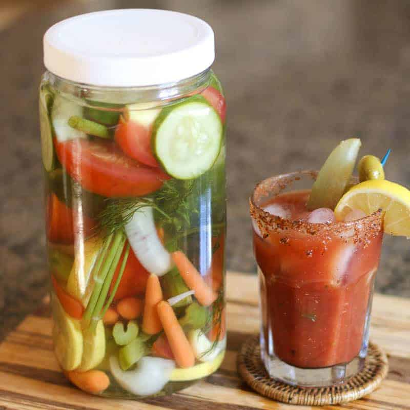 This Bloody Mary Vodka Infusion is made with an assortment of flavorful vegetables and herbs