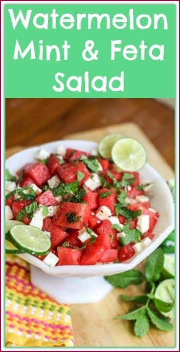 Brighten up your dinner table with this colorful lime infused Watermelon, Mint, and Feta Salad. This simple recipe is as tasty and delicious as it looks.