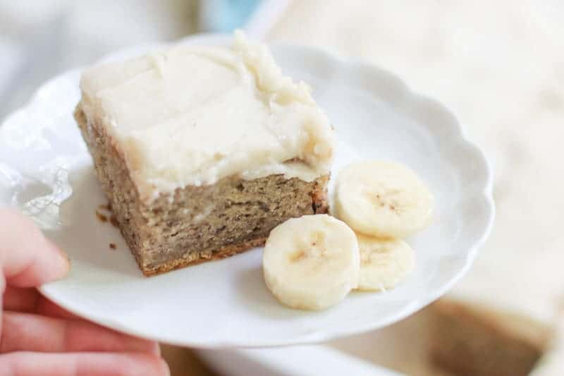 This Banana Bread Bars with Brown Butter Frosting Recipe is so incredible you will want to eat the whole pan. The banana bread bars are moist and full of flavor and the brown butter frosting is absolutely delicious. Your family and friends will love you for baking this tasty dessert!