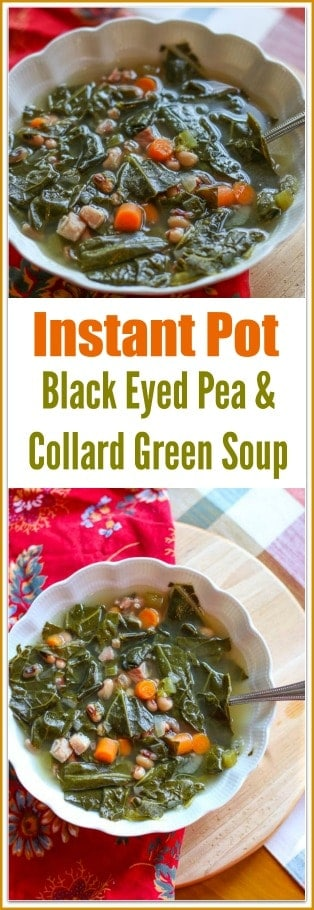 In the South during the cold months, collard greens and black eyed peas are a beloved staple in the kitchen. This #InstantPot #BlackEyedPea & #CollardGreen Soup with Smoked Ham recipe combines the two staples to create a delicious warm hearty #soup.